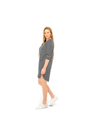 The Anna Dress - Navy/White Stripe