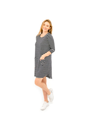 The Anna Dress - Navy/White Stripe