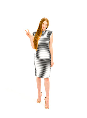 The Caitlin Dress - Black/White Stripe