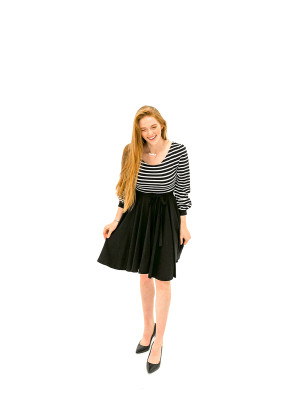 The Jes Dress - Black + Stripes