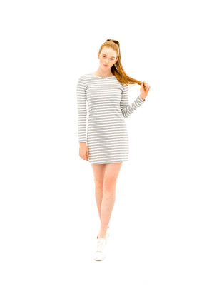 The Laura Dress - Grey Stripe