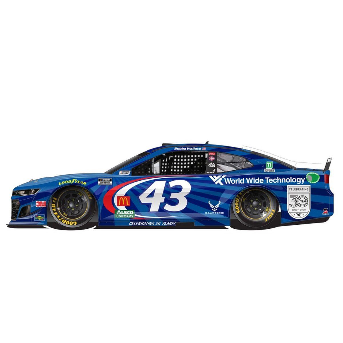 Bubba Wallace No. 43 World Wide Technology 30th Anniversary NASCAR Cup Series 1:24 ELITE Die-Cast