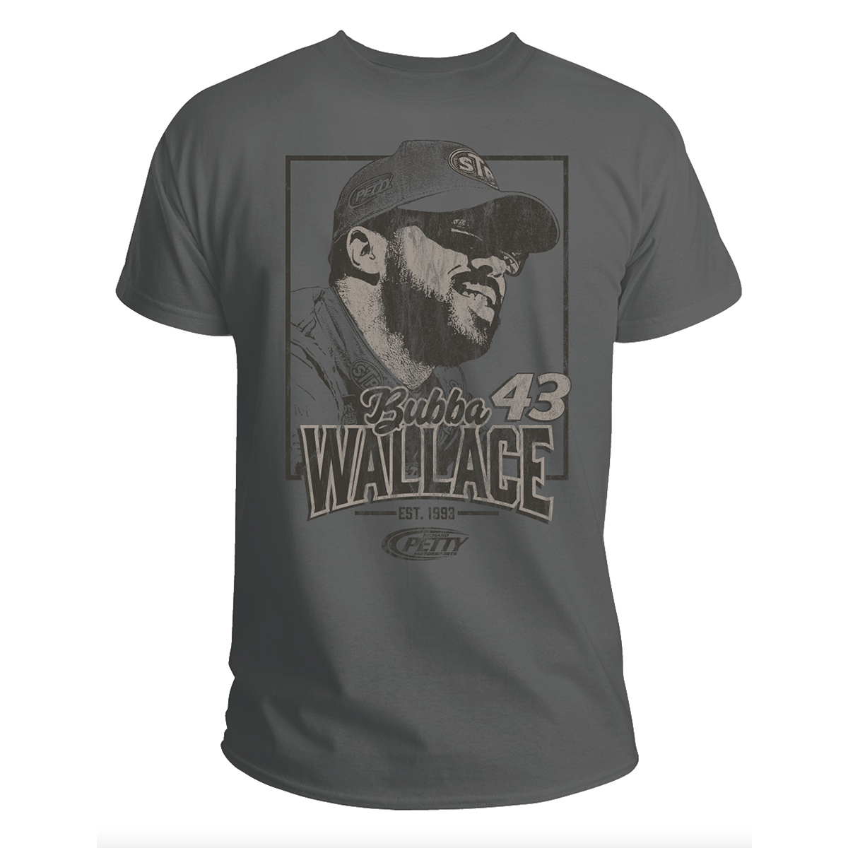 #43 NASCAR Bubba Wallace Gray Graphic T-shirt