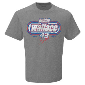 Bubba Wallace #43 NASCAR EXCLUSIVE Signature Grey T-shirt