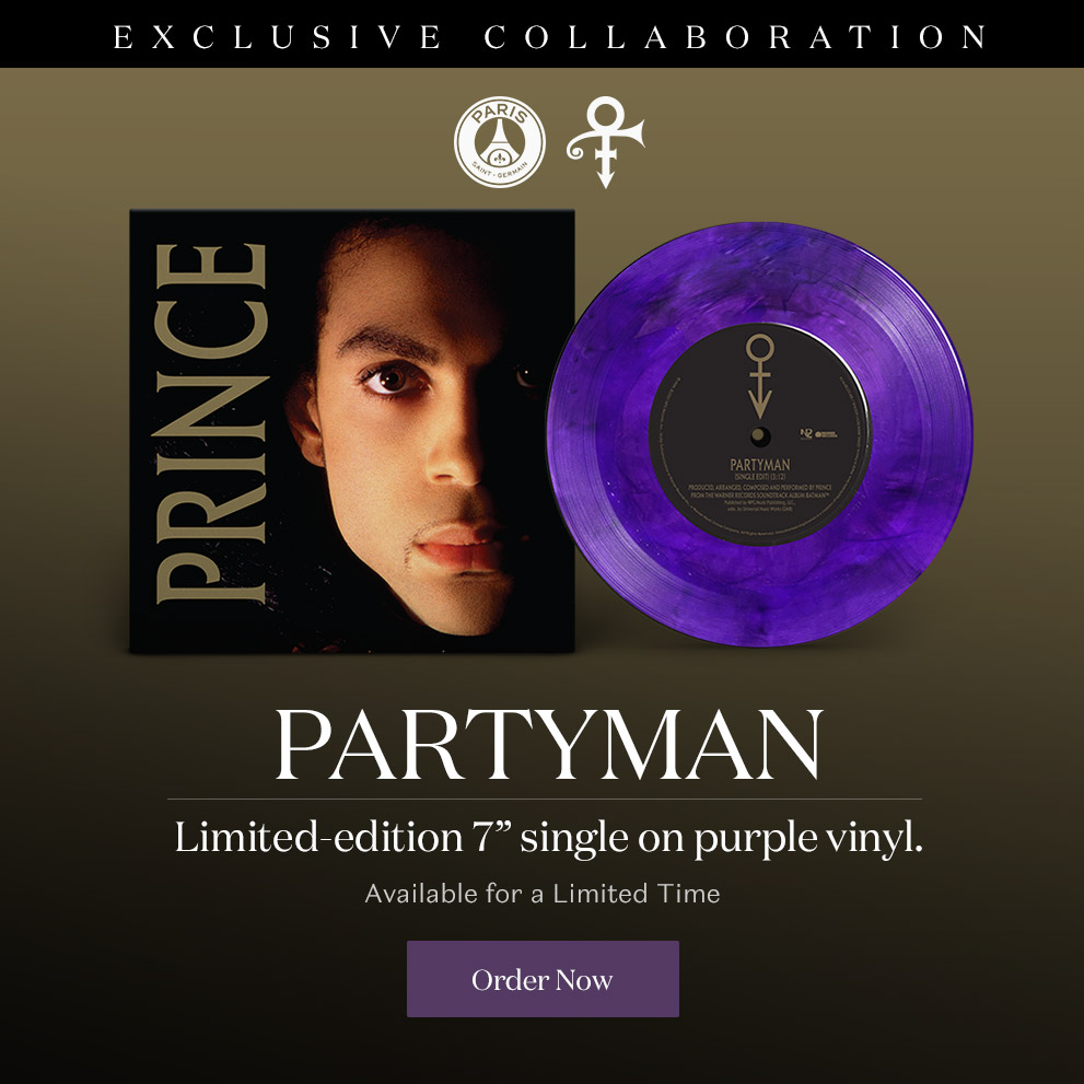 "Partyman - Limited-Edition 7"" single on purple vinyl. Available for a Limited Time. PSG x Prince Estate Exclusive Collaboration"