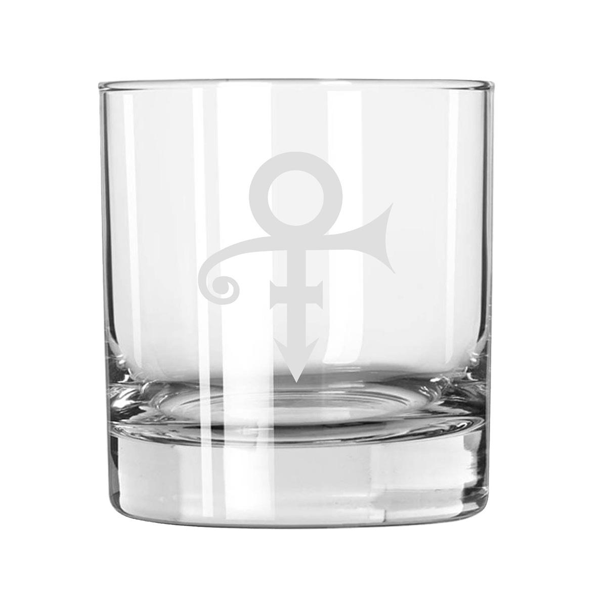 Prince Symbol #2 Etched Rocks Glass