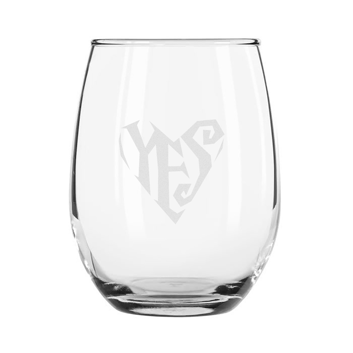 Etched Stemless Wine Glass 4-Piece Set