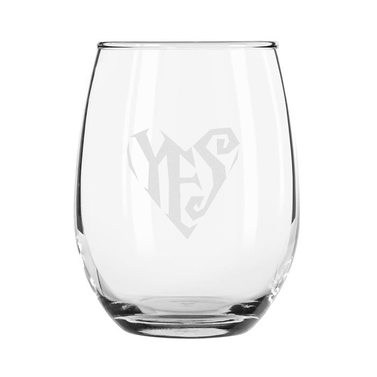 Etched Stemless Wine Glass 4-Piece Set