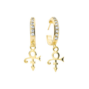 Prince Symbol Crystal Mini Hoop Earrings [Gold]