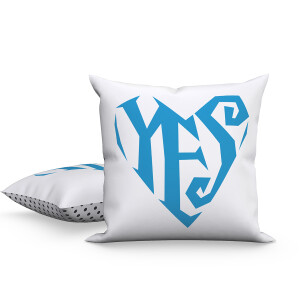 Yes Heart/Polka Dot (Blue) Pillow