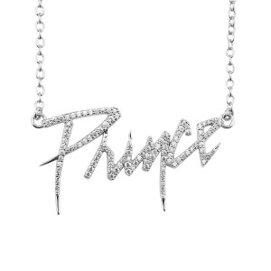 Prince Logo Necklace [Silver] with Crystal Embellishment