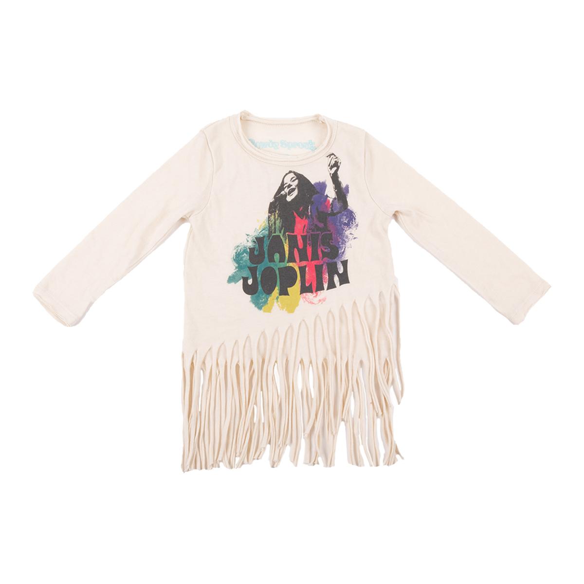 Janis Joplin Colorful Kids Long Sleeve Photo T-shirt with Fringe