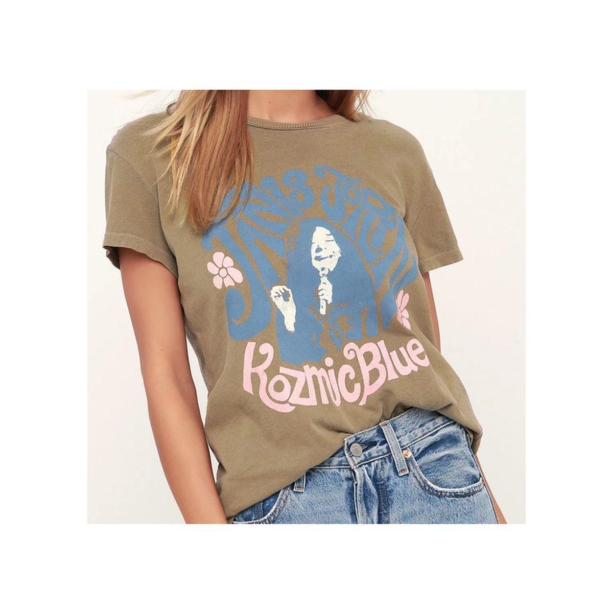 Janis Joplin Kozmic Blues Olive Green T-shirt