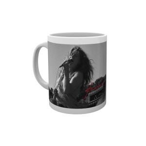 Janis Joplin Singing B&W Mug