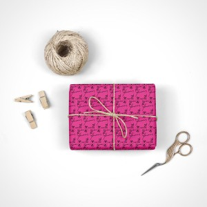 Janis Joplin Calligraphy Rose Wrapping Paper
