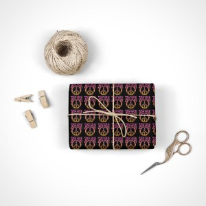 Janis Joplin Peace, Love and Rock & Roll Wrapping Paper