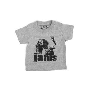 Janis Joplin Photo Kids Grey T-shirt