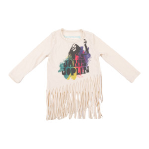 Janis Joplin Colorful Kids Long Sleeve Photo T-shirt with Fringe