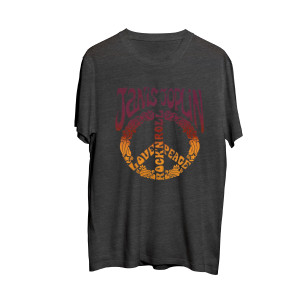 Janis Joplin - Peace Sign Grey T-shirt