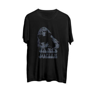Janis Joplin Casual Vintage Juniors Black T-shirt