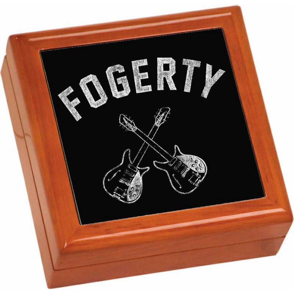 Crossed Guitars Wooden Keepsake Box