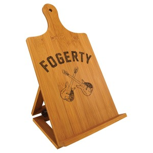 Crossed Guitars Engraved Bamboo Cookbook Easel