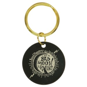 Bad Moon Wolf Brass Keychain