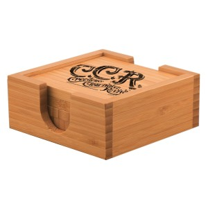 Curly Logo Laser-Etched Bamboo Coaster Set