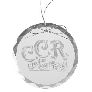 Flourish Round Laser-Etched Glass Ornament