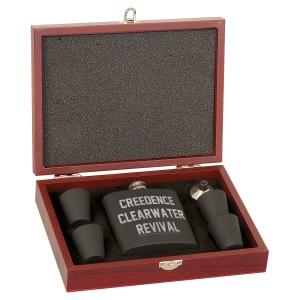 Collegiate Logo Laser Engraved Rosewood Flask Set