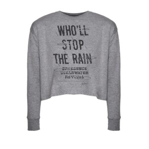 Who'll Stop The Rain Long Sleeve Crop Top