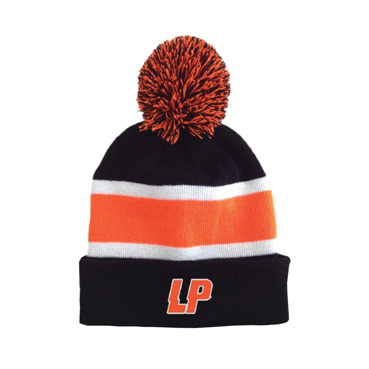 LP - Logo Striped Winter Black and Orange Pom Beanie