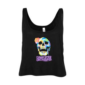 Ladies Flower Skull Crop Tank