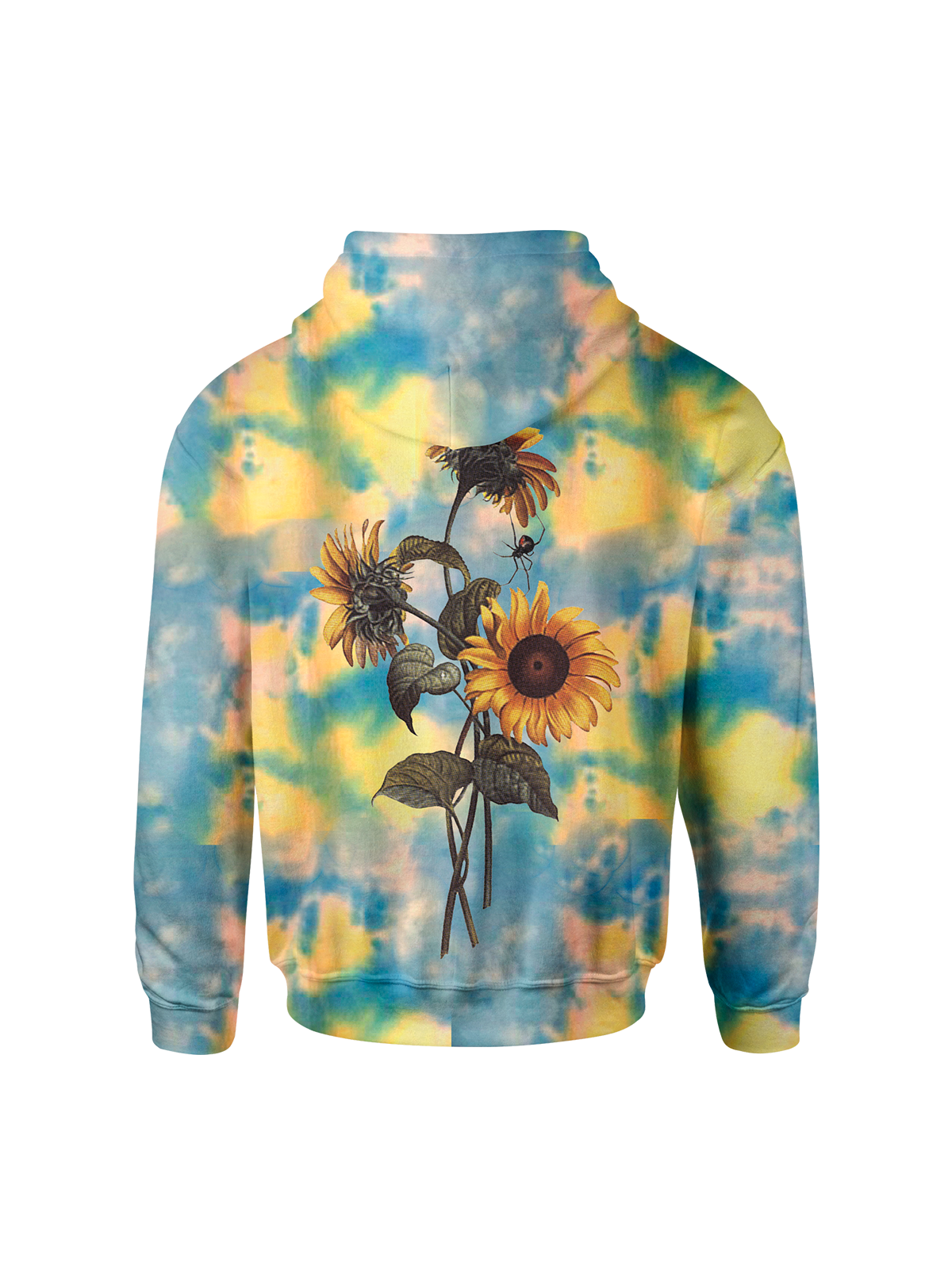 WHIMY Blue Tie Dyed Sunflower Hoodie