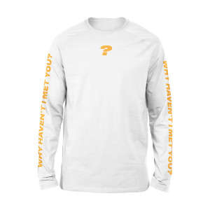 WHIMY White Question Mark Long Sleeve T-shirt