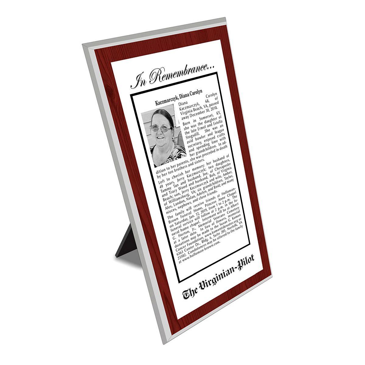 Virginian-Pilot Keepsake Obituary Plaque