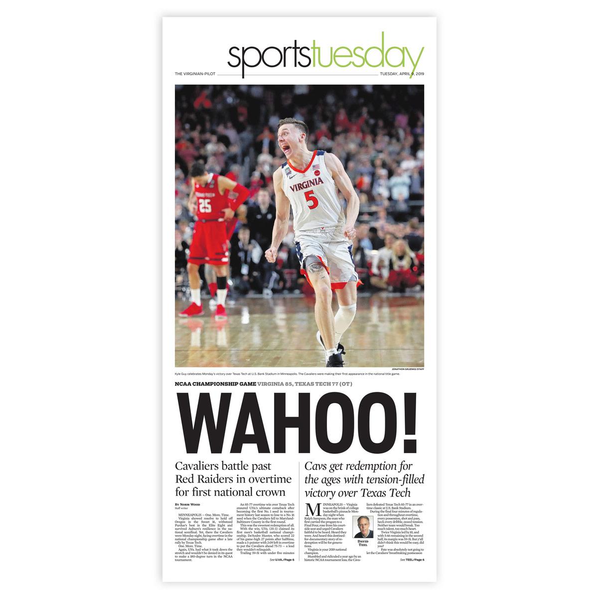 Virginia Cavaliers 2019 NCAA Championship Sports Page Print
