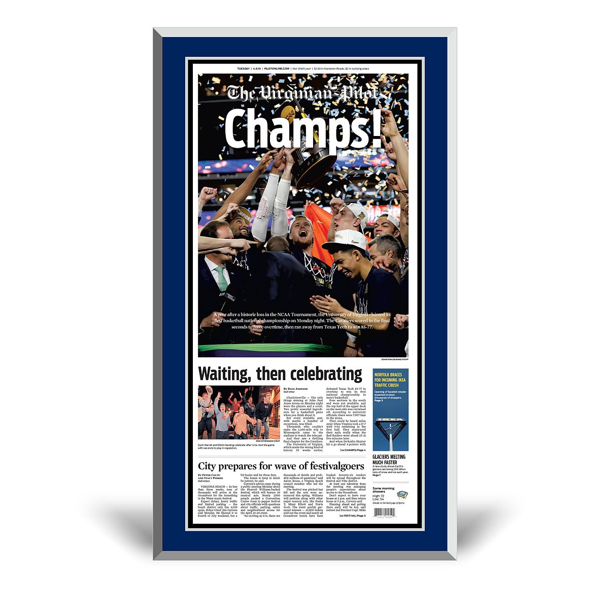 Virginia Cavaliers 2019 NCAA Championship Front Page Plaque