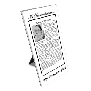 Virginian-Pilot Keepsake Obituary Plaque