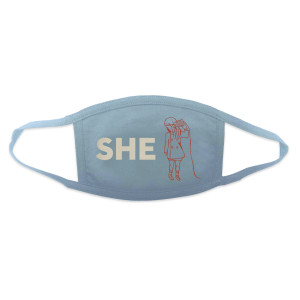 She and Him Face Mask - Light Blue - She