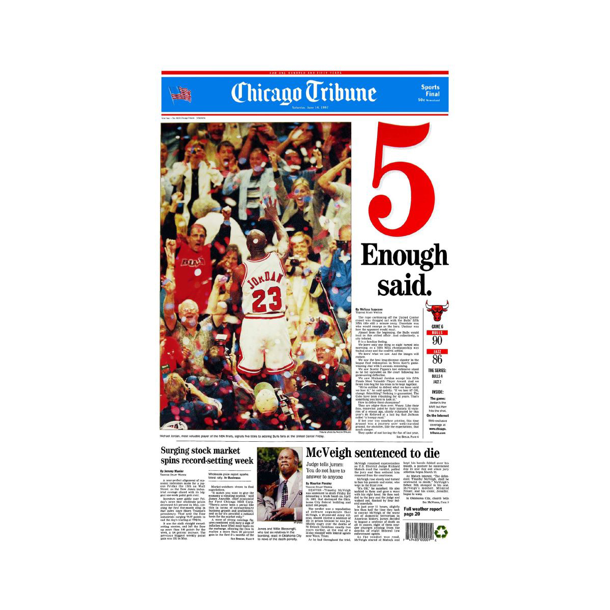 "Chicago Bulls 1997 Championship ""5: Enough Said."" Front Page Print"
