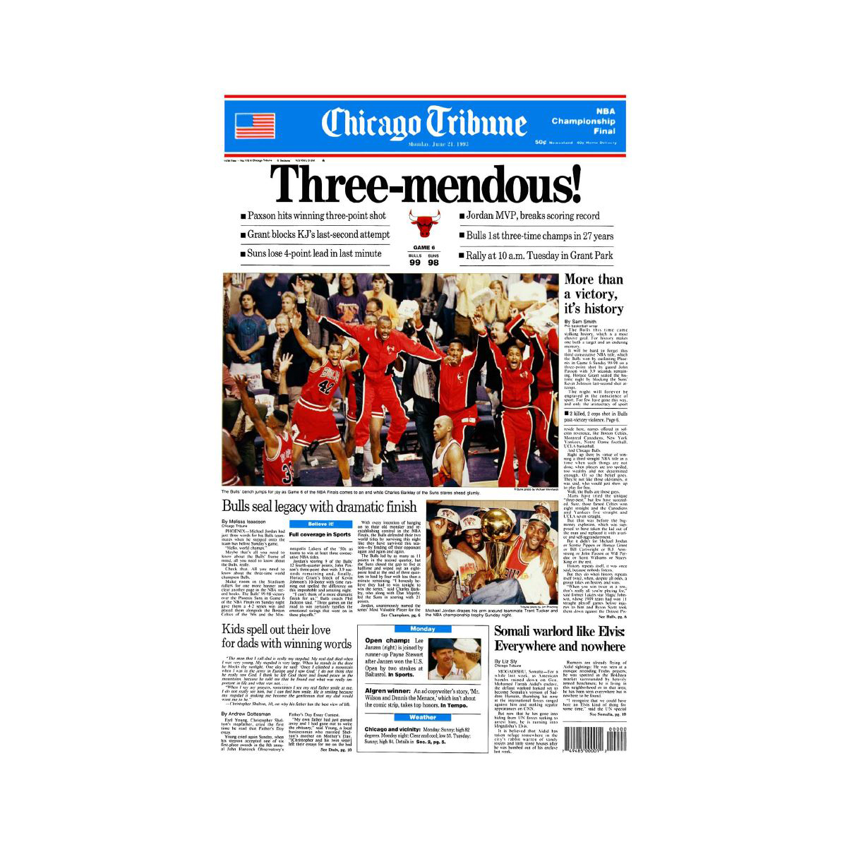 "Chicago Bulls 1993 Championship Win ""Three-mendous"" Front Page Poster"