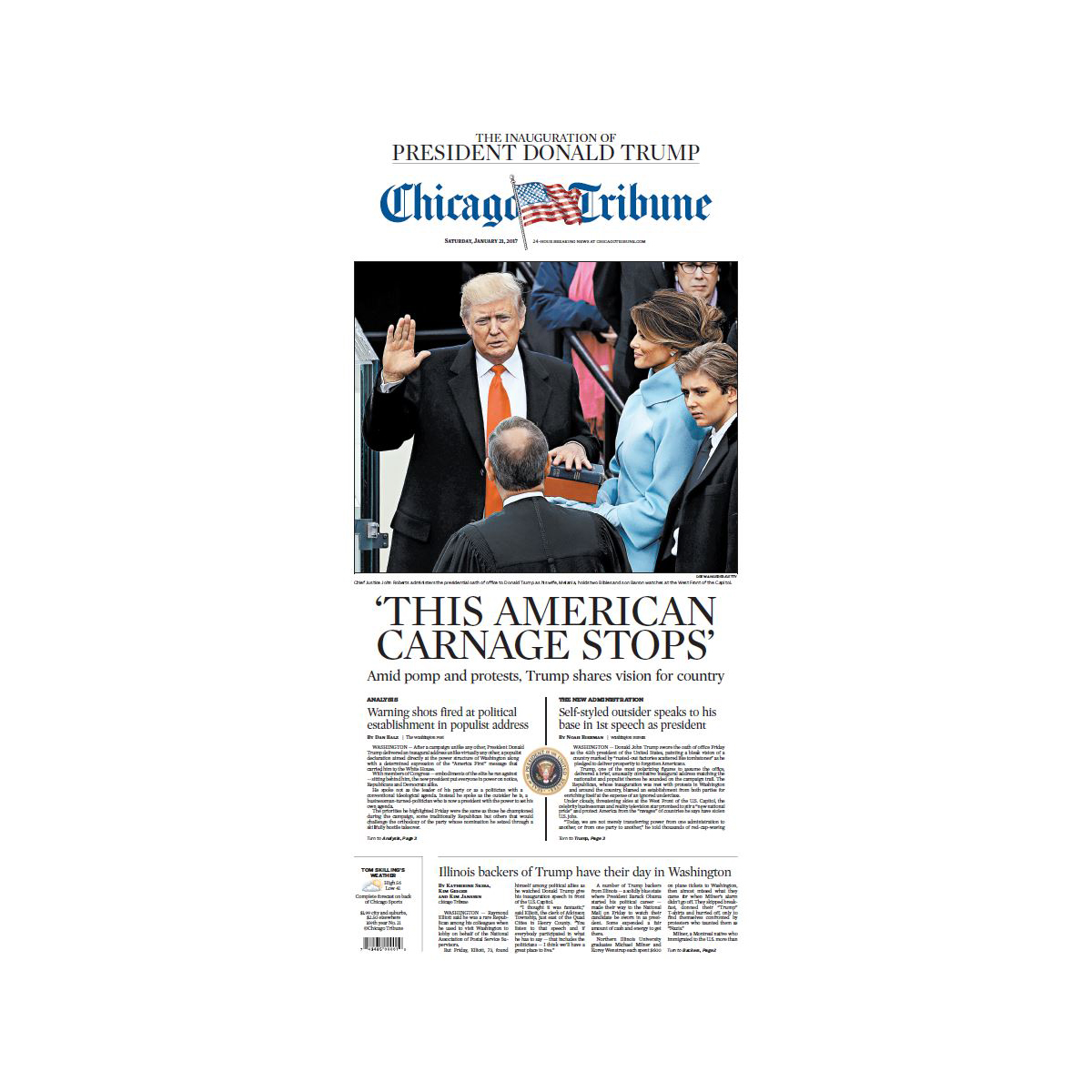 "Chicago Tribune 1/21/2017 ""The Inauguration of President Donald Trump'"" Front Page Poster"