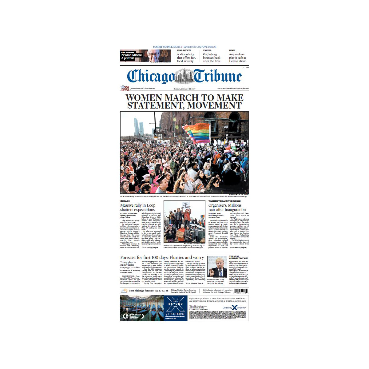 "Chicago Tribune 1/22/2017 ""'Women March to Make Statement, Movement"" Women's March Front Page Poster"