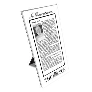 Baltimore Sun Keepsake Obituary Plaque