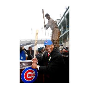 Ernie Banks Statue Pose Photograph