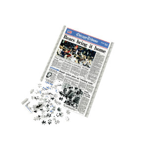 """Chicago Bears Super Bowl XX """"Bears Bring It Home"""" Front Page Jigsaw Puzzle"""