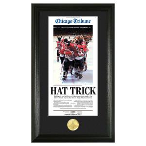 "Blackhawks 2015 Champions ""Hat Trick"" Bronze Coin Photo Mint"