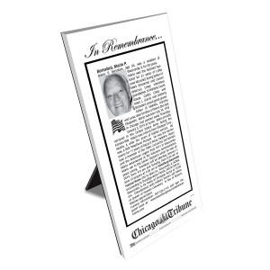 Chicago Tribune Keepsake Obituary Plaque
