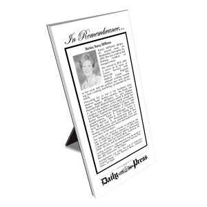 Daily Press Keepsake Obituary Plaque